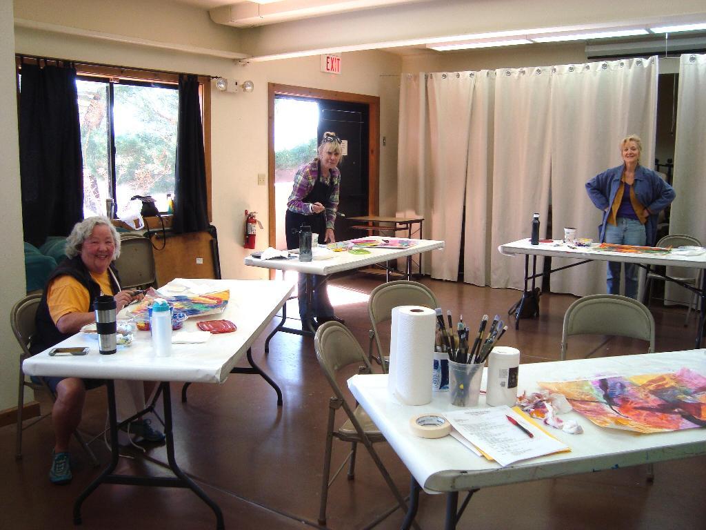 Nickie, BJ, and Jennifer painting